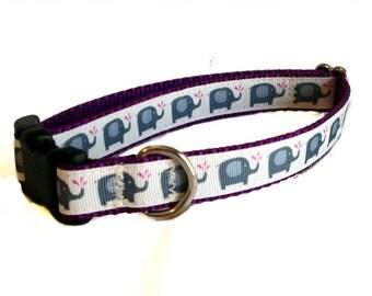 "3/4"" Cute Elephant Dog Collar - Buckle or Martingale"