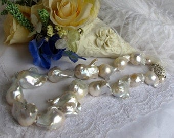 Reduction SALE Lustrous Exotic Baroque Pearl Necklace,Luminious Extra Large Cultured Pearls High Luster Statement Pearl Choker,One of A Kind