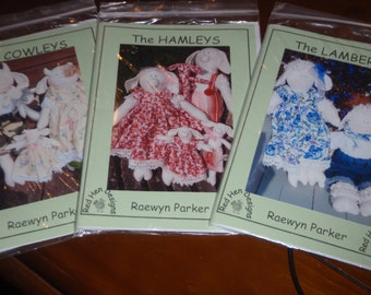 3 Cloth Critter Patterns - The Hamleys, The Cowleys, The Lamberts - pigs, cows and sheep!  - print pattern ***SALE***