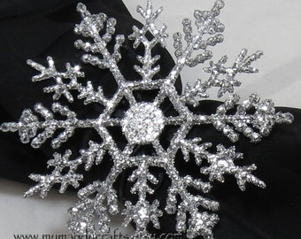 Set of Small Sparkly Silver Snowflake Winter Wonderland Napkin Rings for Frozen Party, Christmas or New Years Table