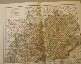 1883 State Map Kentucky and Tennessee - Vintage Antique Map Great for Framing 100 Years Old