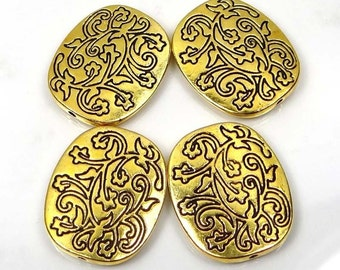 4 Golden Pewter Large Oval Focal Beads 26mm (p187)