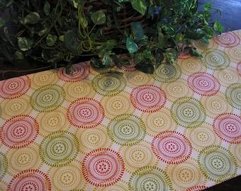 Table Runner Padded Modern Circles Print on Cream