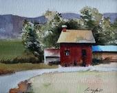 barn painting landscape painting barn Art PRINT barn PRINT Landscape watercolor Painting home decor folk wall art 5x7 farm red art