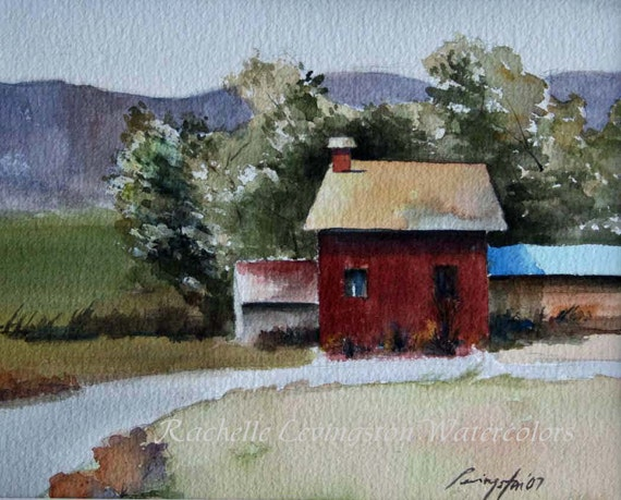 Barn painting landscape painting barn art print barn print for Watercolor barn paintings