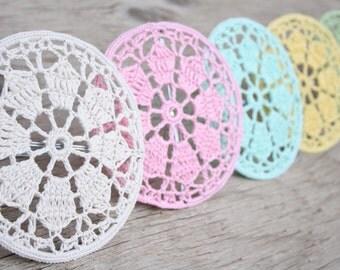 Crochet Doily Lampshade - Aqua