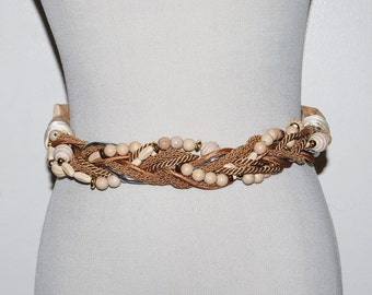 Vintage Belt Wood and Sand with a Touch of Silver Wrap