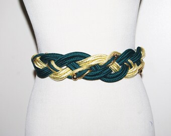 Vintage Stretch Belt Renaissance Green Braided