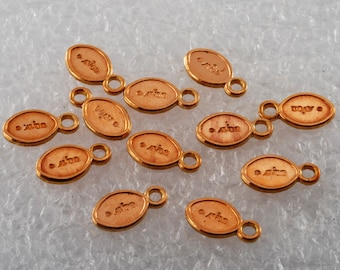 LOOK! Vintage Avon Copper Metal Tags Charm STamped Lot of 12