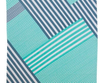 Lines - Screen printed tea towel in Mint/Indigo