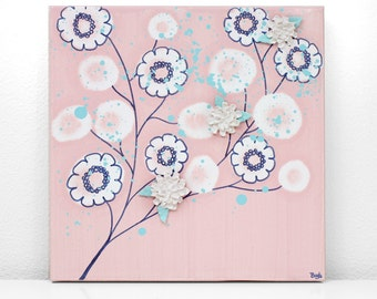 Nursery Art for Girl - Pink and Blue Flower Painting on Square Canvas - Small 10x10
