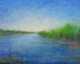 "Horizontal Landscape Painting, 24"" x 48"" cobalt blue lake California"