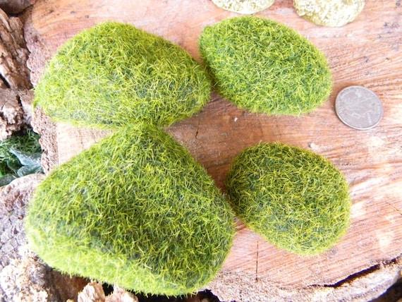 terrarium moss rocks - set of 4 for your miniature gardens (fake)