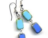 Blue and  Turquoise  earrings, Surgical Steel Earrings, Blue Jewelry - handmade jewelry by AnnaArt72