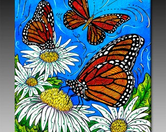 Monarch Butterfly with Daisies Ceramic Tile Wall Art
