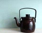 Vintage Danish modern brown tea  kettle with mod black enamel design and black handle