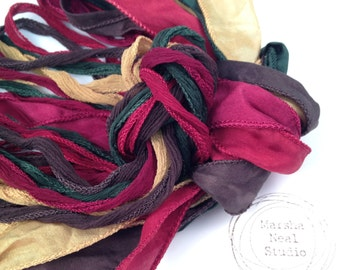 Silk Ribbons Mom's Traditional Colonial Christmas Palette Silky and or Fairy Ribbons