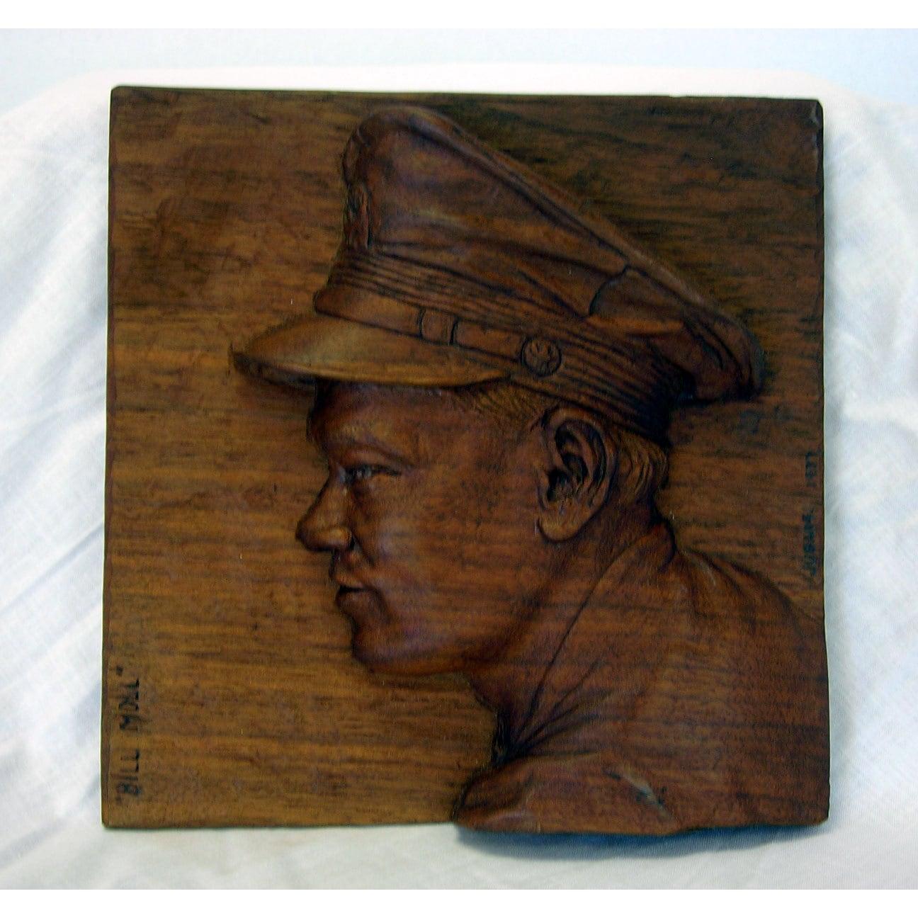 Walnut folk art bas relief figural carving portrait by