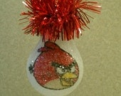 Angry Bird - Red Bird handmade light bulb ornament