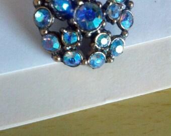 Vintage Blue Rhinestone Button