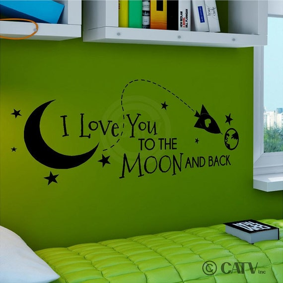 Rocket I Love You To The Moon And Back (A) vinyl lettering art decal wall sticker quote