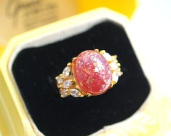 Red Fleck Stone Rhinestone Ring  Costume Cocktail Ring Adjustable