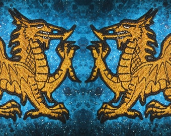 Welsh Gold Dragon Heraldic Heraldry  Iron on Patch Pair