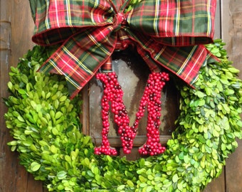 Boxwood Wreath with Holly Berry Letter Christmas Wreath