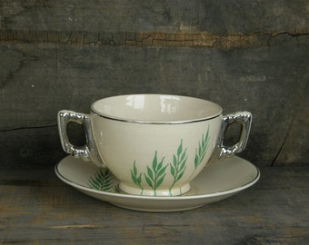 Leigh Ware Green Wheat Soup Cup & Saucer: Moderne Art Deco - Multiples Available, Ask About Bulk Discount