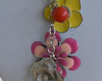 "Colorful Vintage Enamel Floral Necklace, Silver tone, 32"""