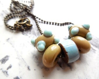 Baby Blue Beaded Lampwork Glass Necklace, Khaki Tan, Light Blue, Antiqued Brass, Spring Summer Fashion, Beach Jewelry