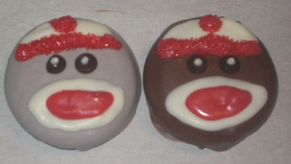 Sock Monkey design chocolate covered sandwich cookie party favors