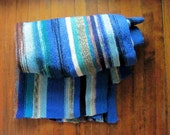 70s blue striped afghan blanket