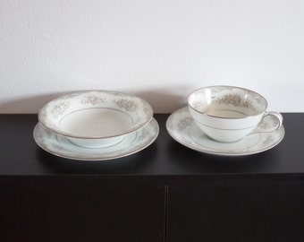 Vintage Noritake China Snack / Luncheon Four (4) Piece Place Setting  Royce Pattern 5809 Mid Century