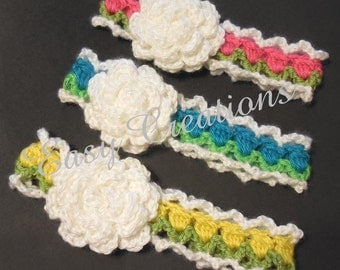 "CROCHET PATTERN Baby Headband tulip flower girl girls 15"" to 18"" head circumferences skill level intermediate"