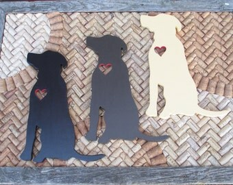 Labrador retriever wood cutout with a heart.