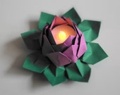 Tealight Origami Water Lily Lotus Blossom  Flower - One Piece - Solid Color - Pick Your Own