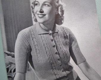 Vintage Knitting Pattern 1930s 1940s Womens Cardigan Pattern P & B 476 30s 40s original knitting pattern jumper sweater