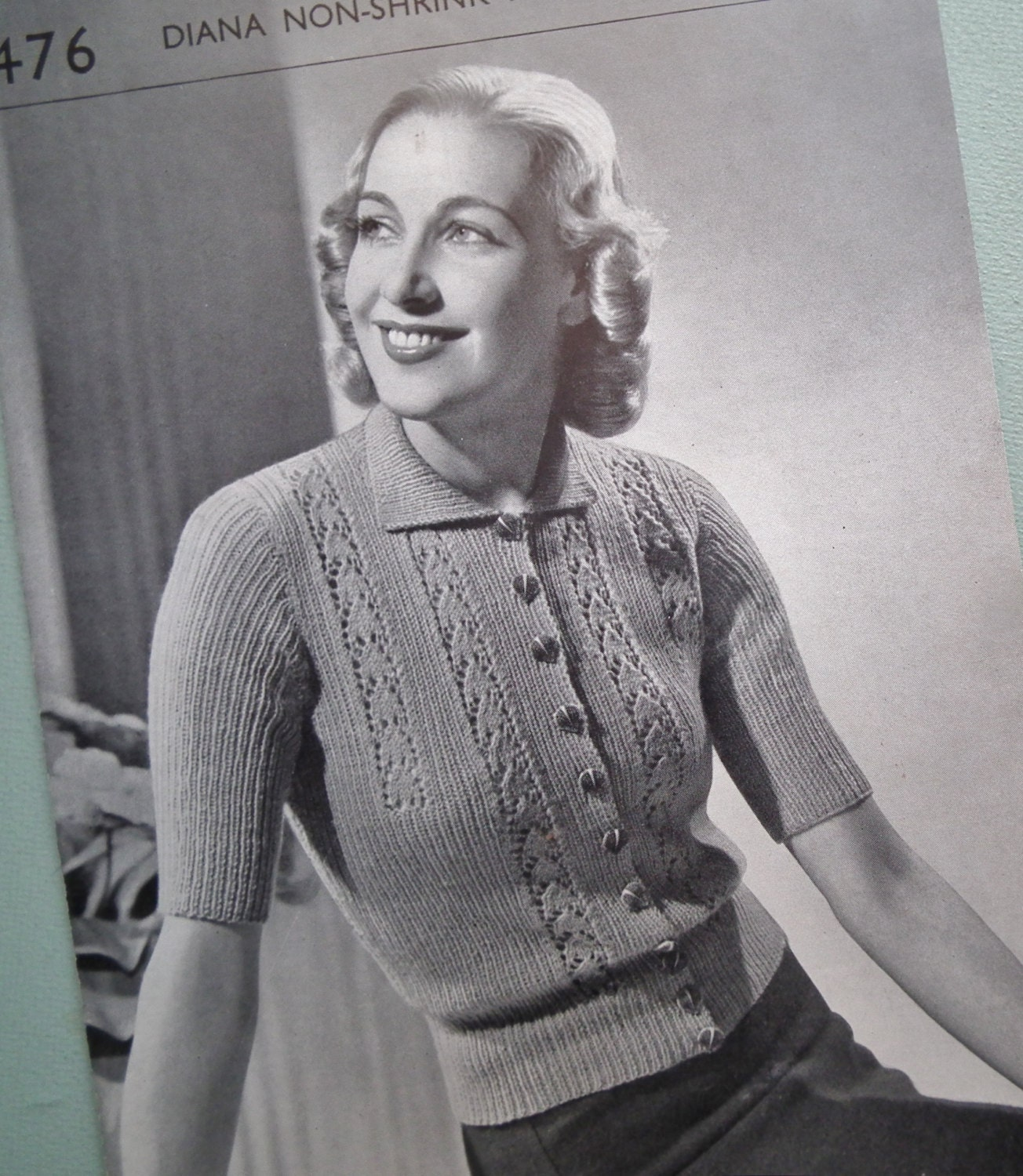 Vintage Knitting Pattern 30s 40s Womens Cardigan Pattern