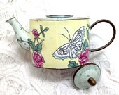 Vintage Mini Teapot Pink flowers and butterfly - Enameled with Brass underlay
