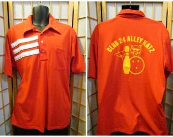70s striped Club 24 Alley Katz bowling shirt mens size xlarge