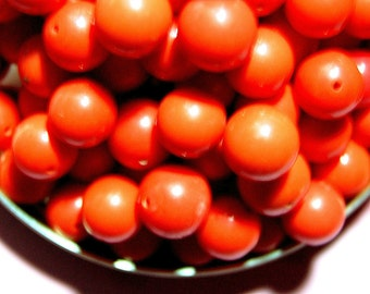 Vintage 18 Burnt Orange 12 mm Lucite Beads FL5