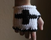 Black and White Medic Mitts - Handmade Gothic Fashion Gloves