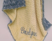 Yellow Minky Dot  and Charcoal Gray Swirl Blanket for baby Toddler or Adult Can Be Personalized