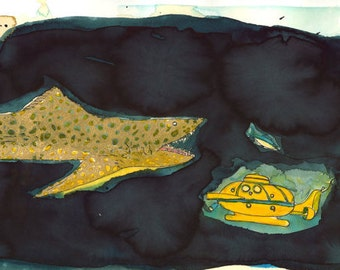 Hooking the Rhinestone Bluefin: The Jaguar Shark Approaches Jacqueline-  Illustration from Wes Anderson's The Life Aquatic