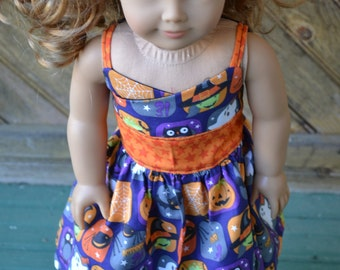 18 inch Doll Clothes - Spooky Blocks Wrap Dress - HALLOWEEN - gray black orange red - fits American Girl