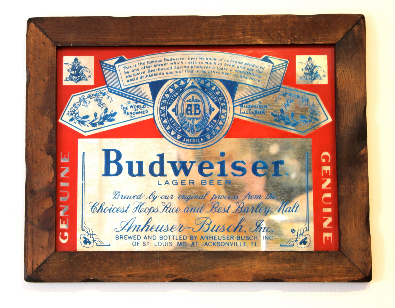 80 S Budweiser Mirror Wood Frame Beer Sign Man Cave
