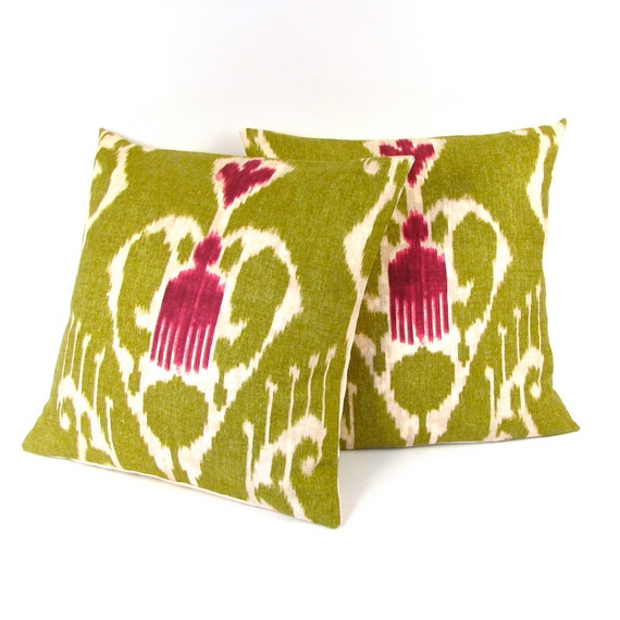 "Olive Green and Magenta IKAT Linen Pillow Covers Set of Two 20"" - Green Linen Pillow"