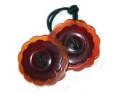 Bakelite Hair Accessory - Vintage Button Jewelry, Flower Shaped Ponytail Holder