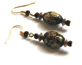 Pierced Earrings - Vintage Glass Bead, Floral Design Black with Gold
